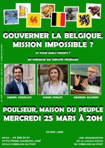 Gouverner la Belgique, mission impossible ? Soirée avec trois députés fédéraux Ecolo le 25 mars à Poulseur