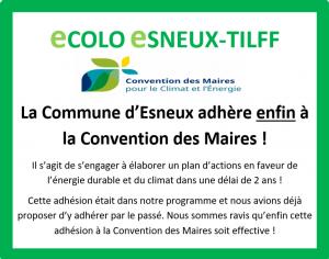La Commune adhère enfin à la Convention des Maires !